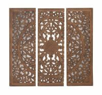 48x48 Large Carved Wood Wall Art Mirror Panel African ...