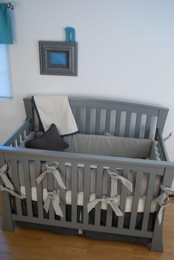 Charcoal Grey Crib Bedding With White And Aqua Fabrics In