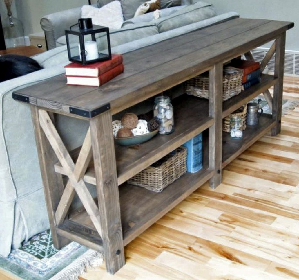 Rustic X console table DIY project from Ana White