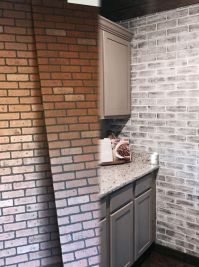 Before and After Lowes brick panel painted white. Brick