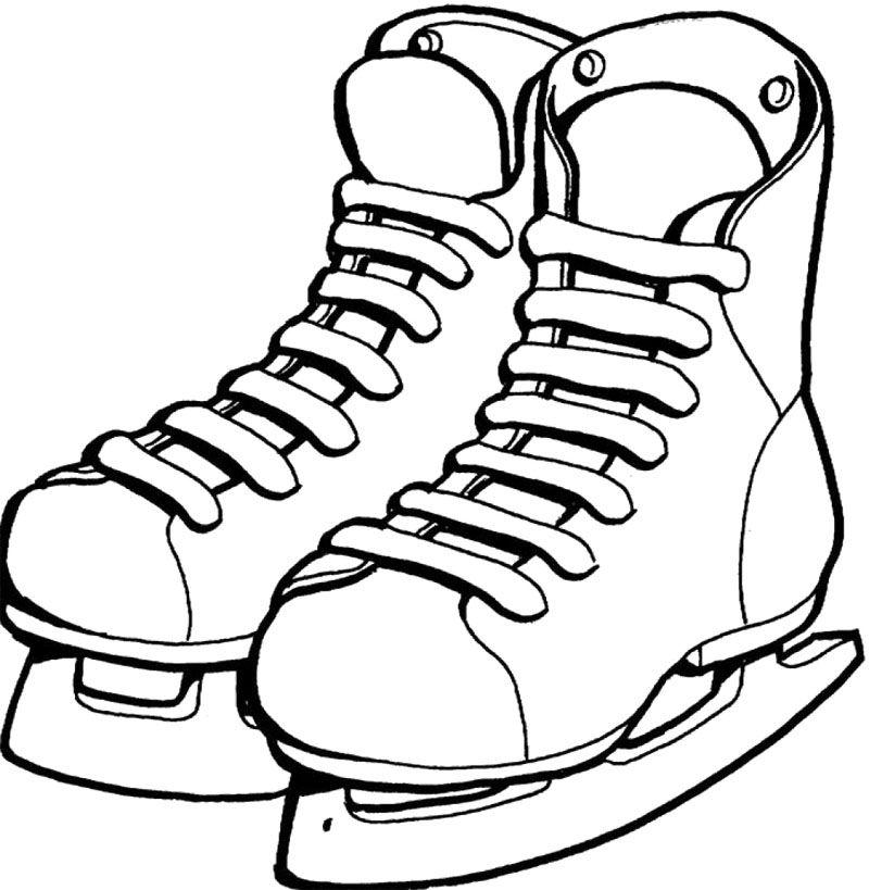 Shoes Ice Skating Coloring Page Çizim-Mevsimler
