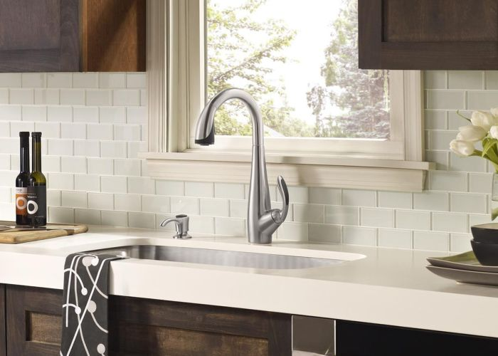 White glass tile backsplash countertop with dark wood cabinets perfect also