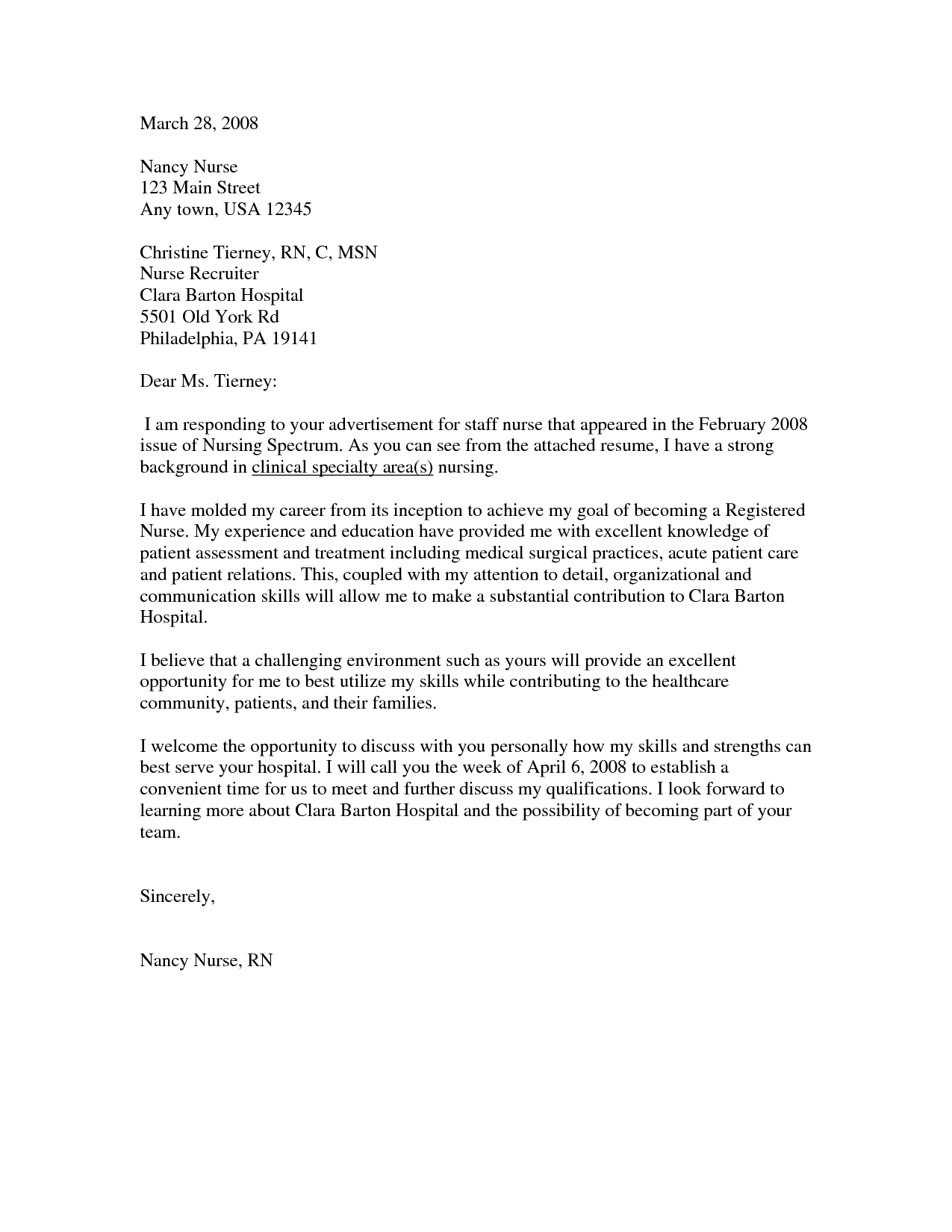 New Grad Nurse Cover Letter Example Nursing Cover