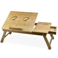 Bamboo Laptop Table Folding Notebook PC Computer Desk Bed ...
