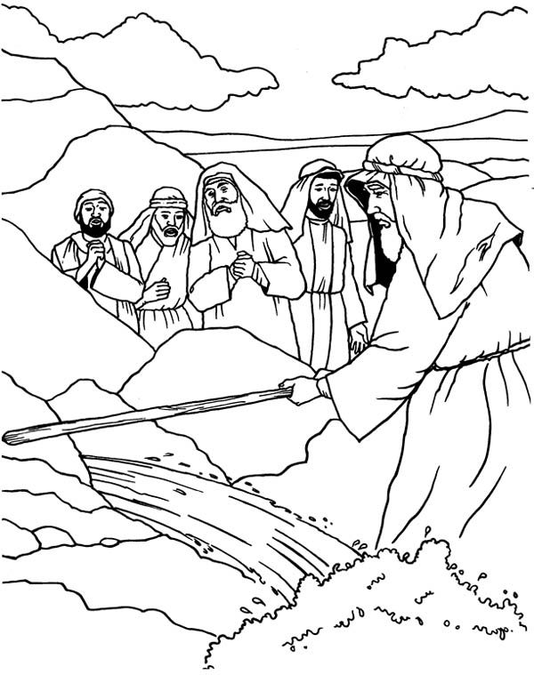 Moses , : Moses Strike His Stick to the Rock Coloring Page