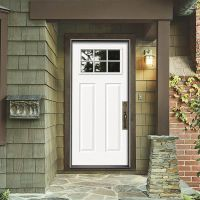 JELD-WEN 34 in. x 80 in. 6 Lite Craftsman Primed Steel ...