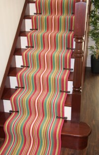 Colourful Pink Striped Any Length Long Stair Carpet Runner ...