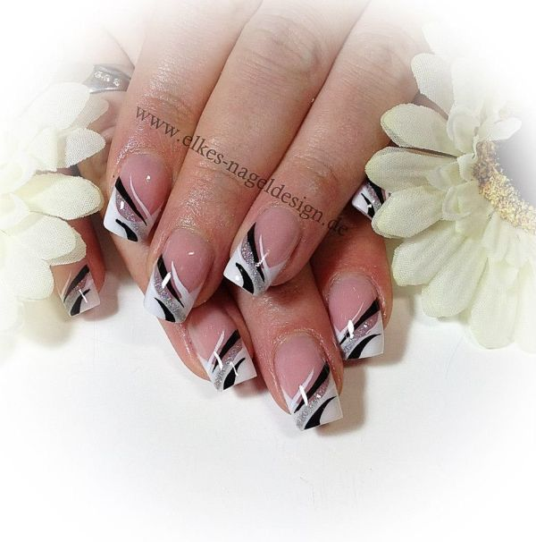 Elegant French Nail Art In Silver Black And White Nails Hair & Fashion