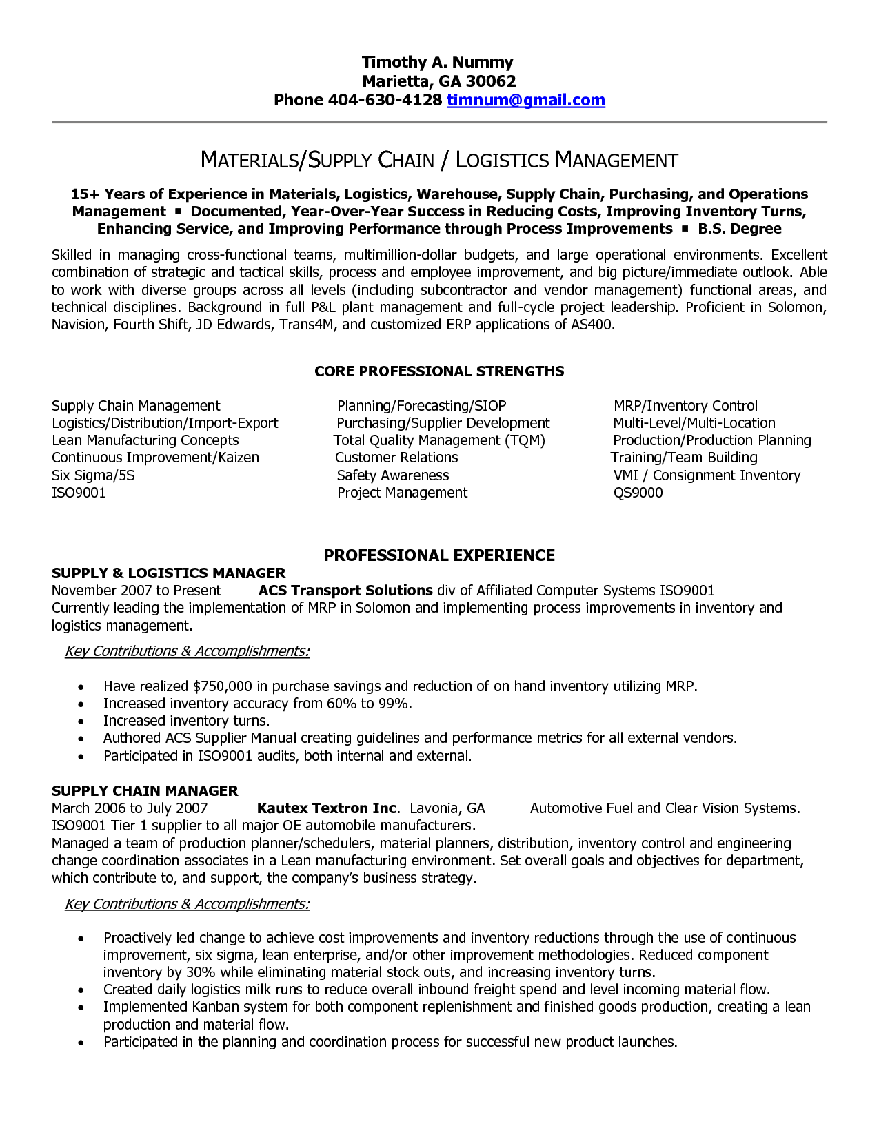 Resume Format For Purchase Manager Supply Chain Resume Templates Supply Chain Manager In