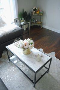 marble coffee table, vittsjo ikea hack, pink peonies, home ...