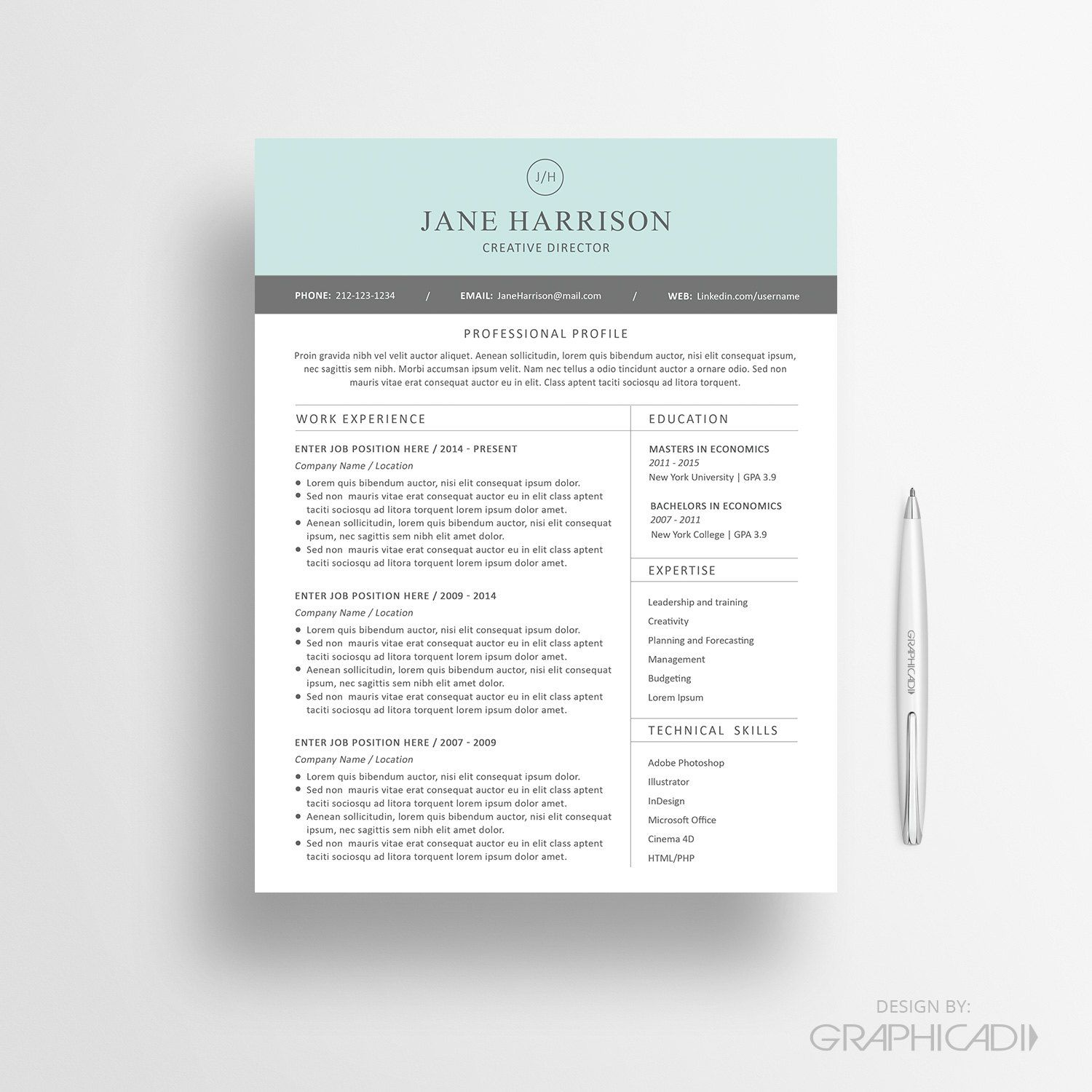 Resume Template Pinterest Resume Template Cv Template And Cover Letter For Ms Word