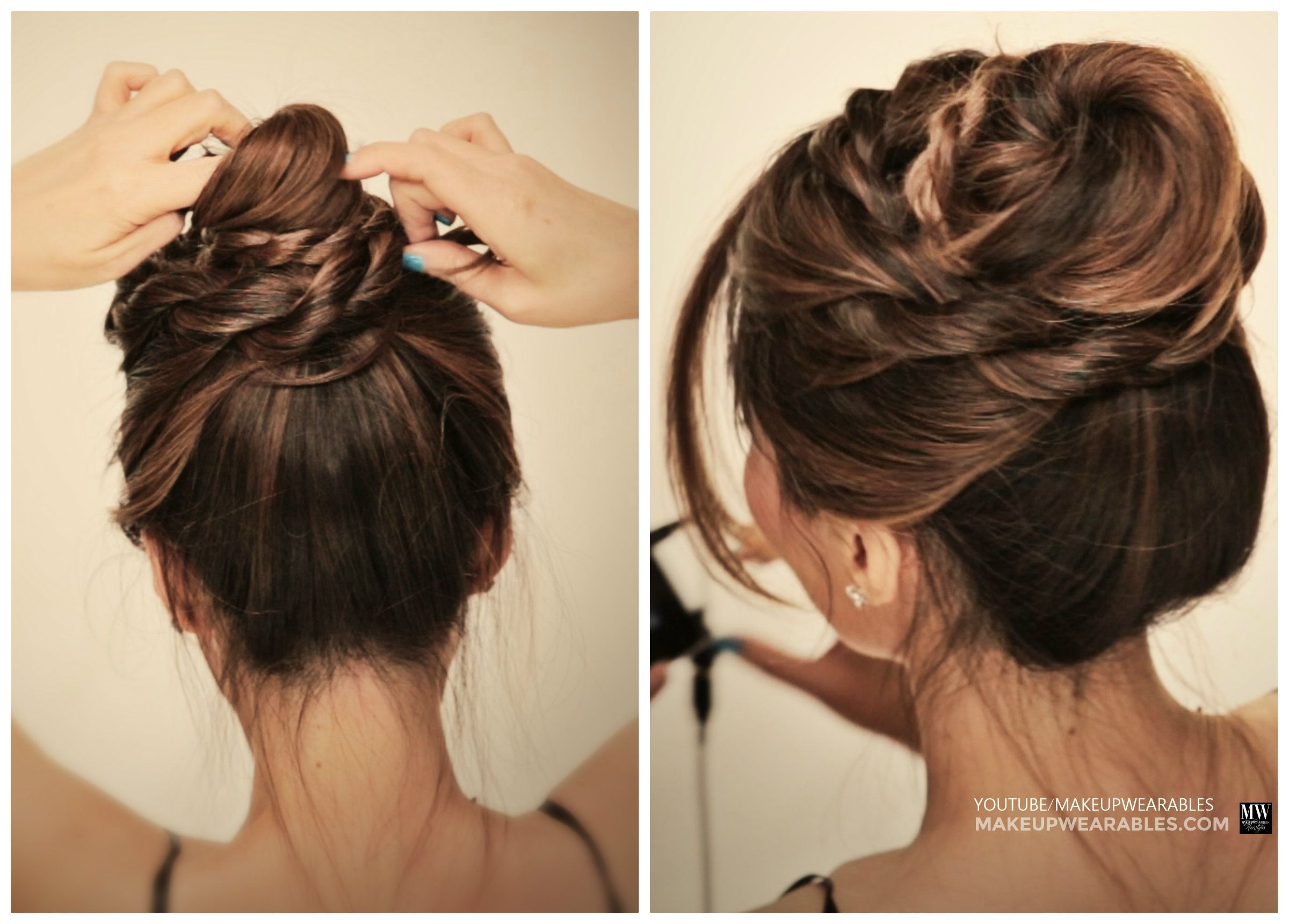 Messy Ballerina Twist Bun Hairstyle Holiday Updo Tutorial Video