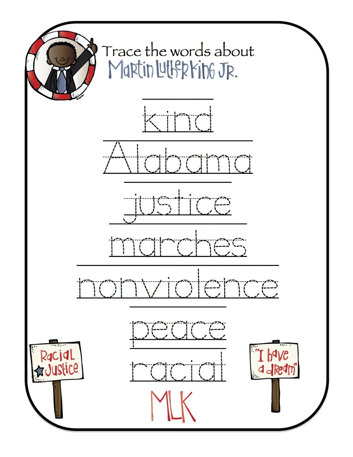 Preschool Printables Free Martin Luther King Mini Printable