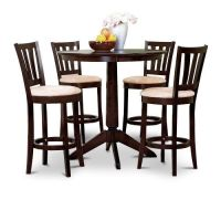 Espresso Counter Height Dining Bar Table and 4 Bar Stools ...