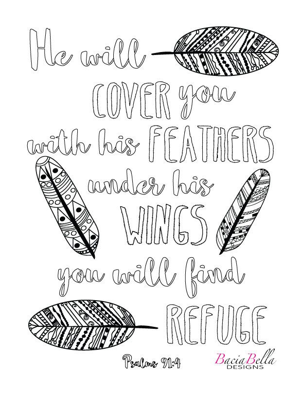 Zen Tangle Feathers-Psalm 91:4-Adult Coloring Page-He Will
