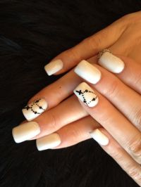 Simple Acrylic nail art design with black chain cross ...