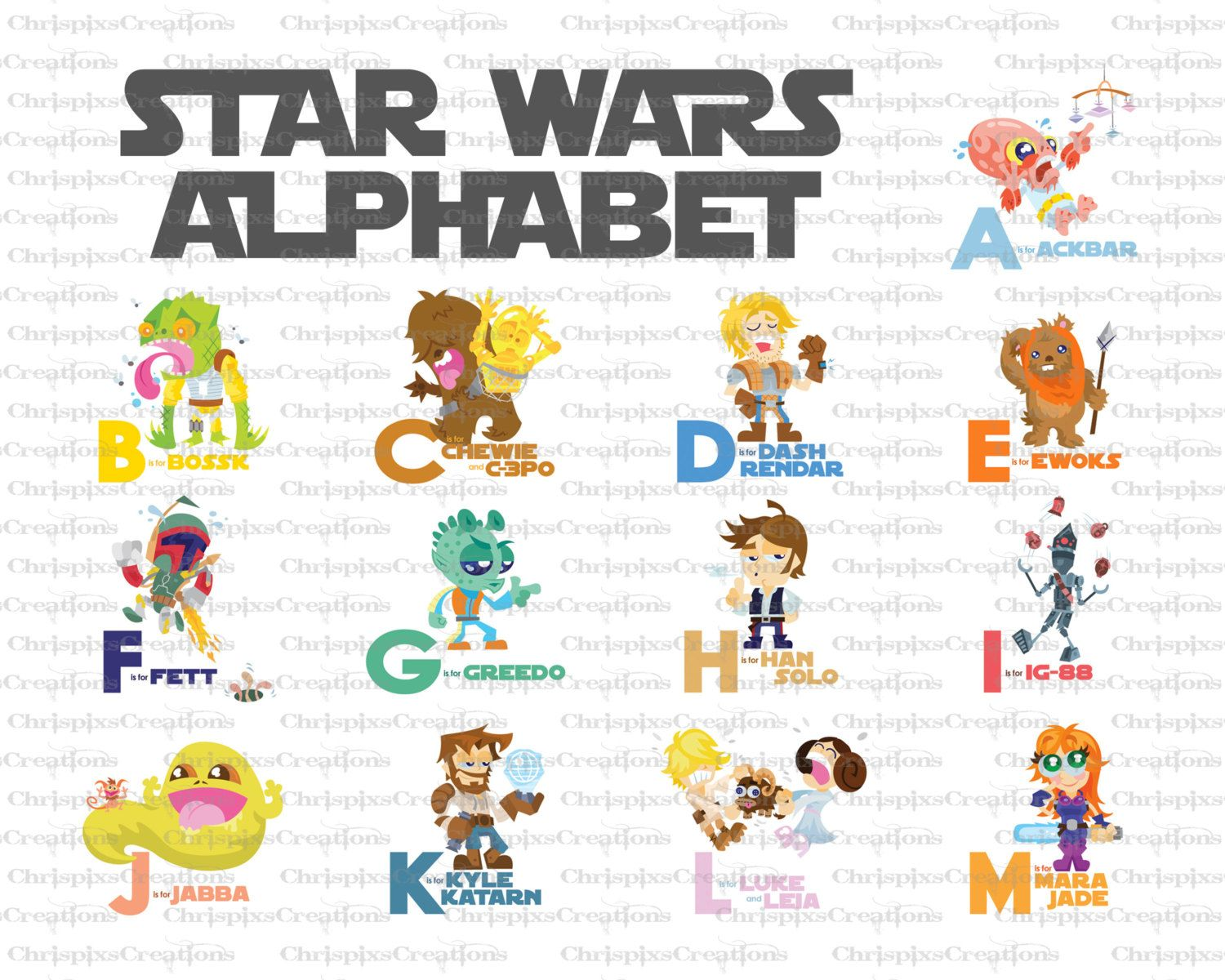 Star Wars Alphabet Baby Nursery Art Set Of 2 Prints 8 00 Via Etsy