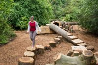 Woman walking along a log at the log trail   Zona de Juego ...