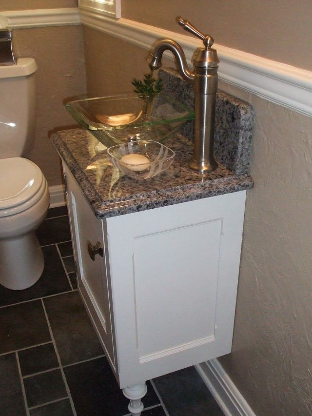 Luxurious White Small Vanity And Glass Bowl Sink Gray Marble