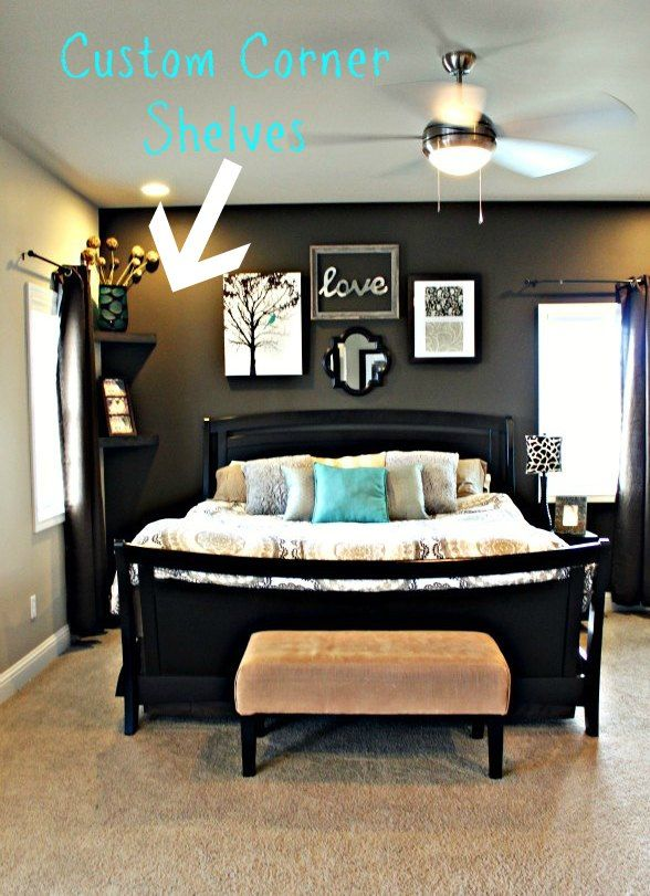 really like the look and dark wall love black make it an accent hardwood floors with rugs for master bedroom also how to build  corner shelf in minutes but   pinning   rh pinterest