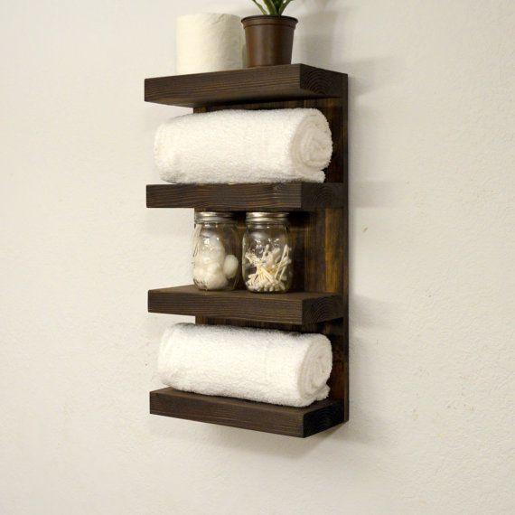Bathroom Towel Rack 4 Tier Bath Storage Floating Shelf