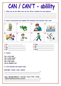 CAN - CANT | Ingls | Pinterest | English, Worksheets and ...