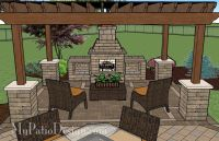 Patio with Pergola Over Fireplace Area | Patio Designs and ...
