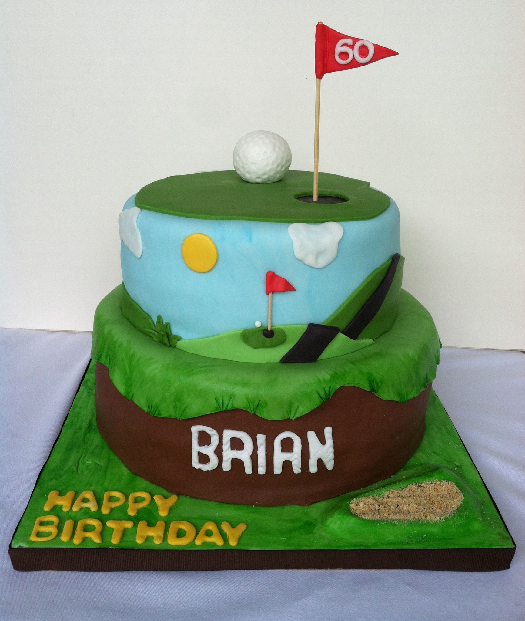 Happy 60th Birthday Golf Theme Chocolate Cake