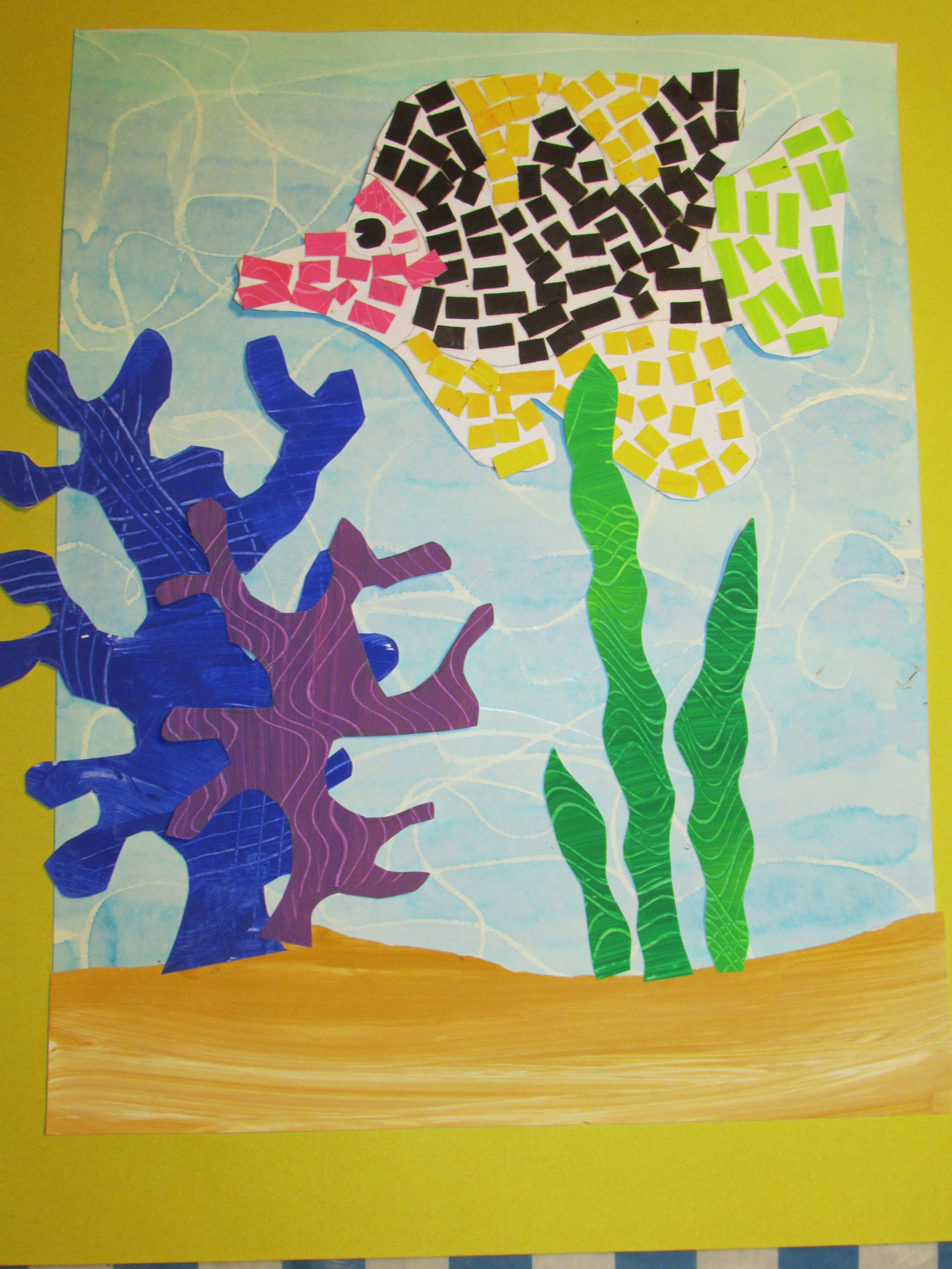3rd Grade Paper Mosaic Fish 14 X 18 Art Teacher Susan
