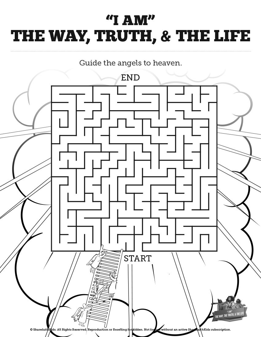 John 14 The Way the Truth and the Life Bible Mazes: Who