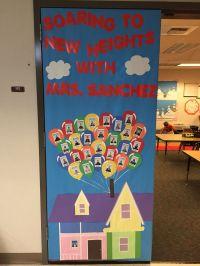 """Up"" themed door decoration for Teacher Appreciation Week"