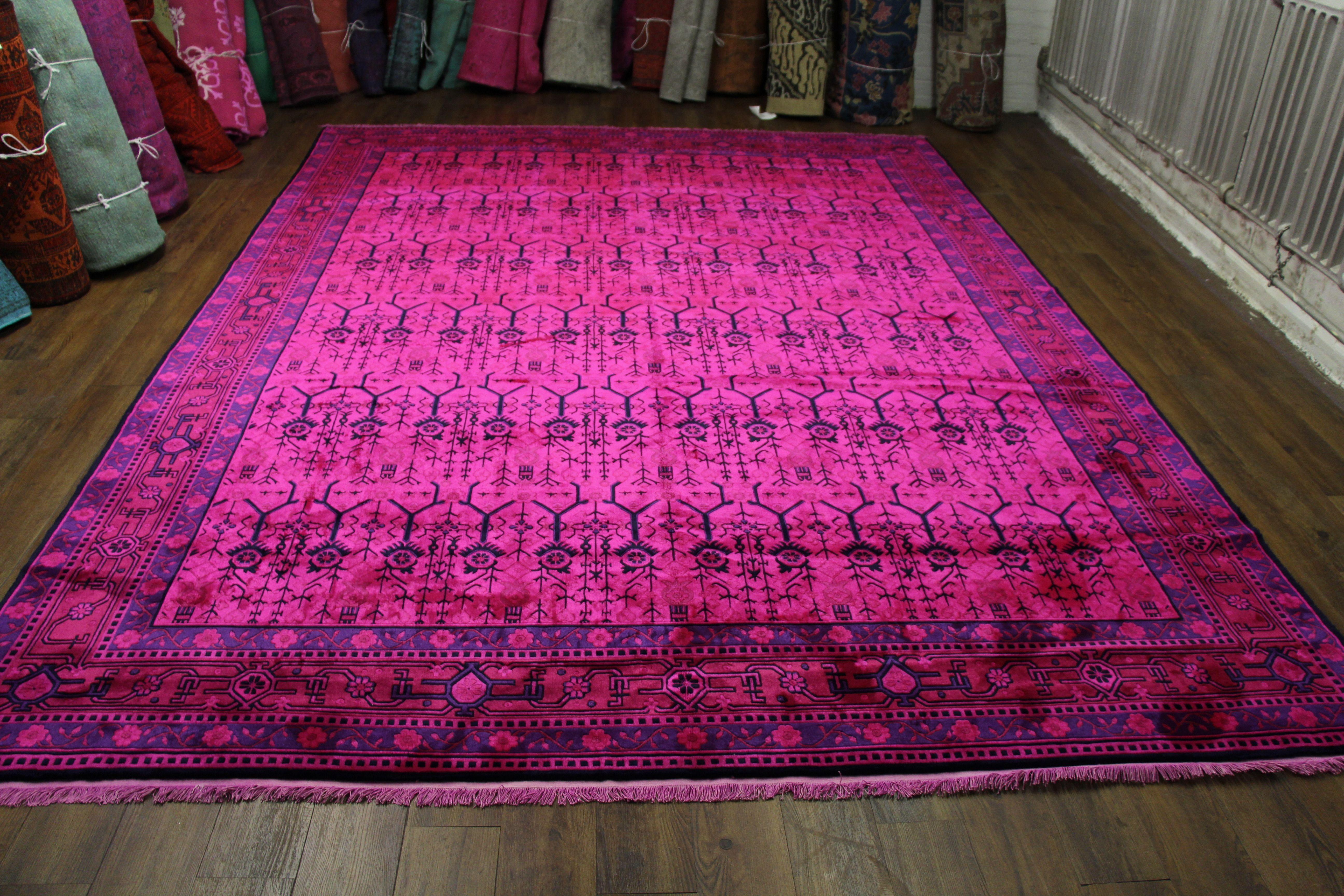 9x12 Hot Pink Rug Overdyed Chinese Art Deco 2719. Amazing