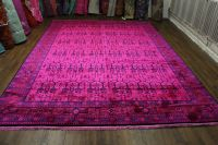 9x12 Hot Pink Rug Overdyed Chinese Art Deco 2719. Amazing