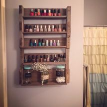 Wooden Pallet Project Nail Polish Shelves Completed