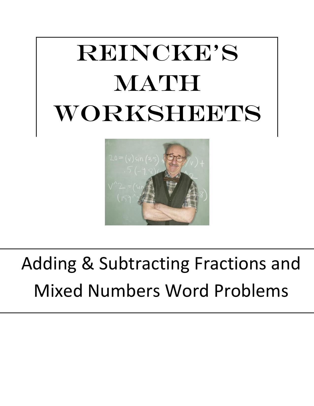 Adding Subtracting Fractions Amp Mixed Numbers Word Problems