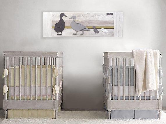 Duck twin nursery wall art yellow stripe baby room farm decor family of also rh pinterest