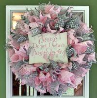 Baby girl wreath, Hospital door wreath, Baby nursery ...