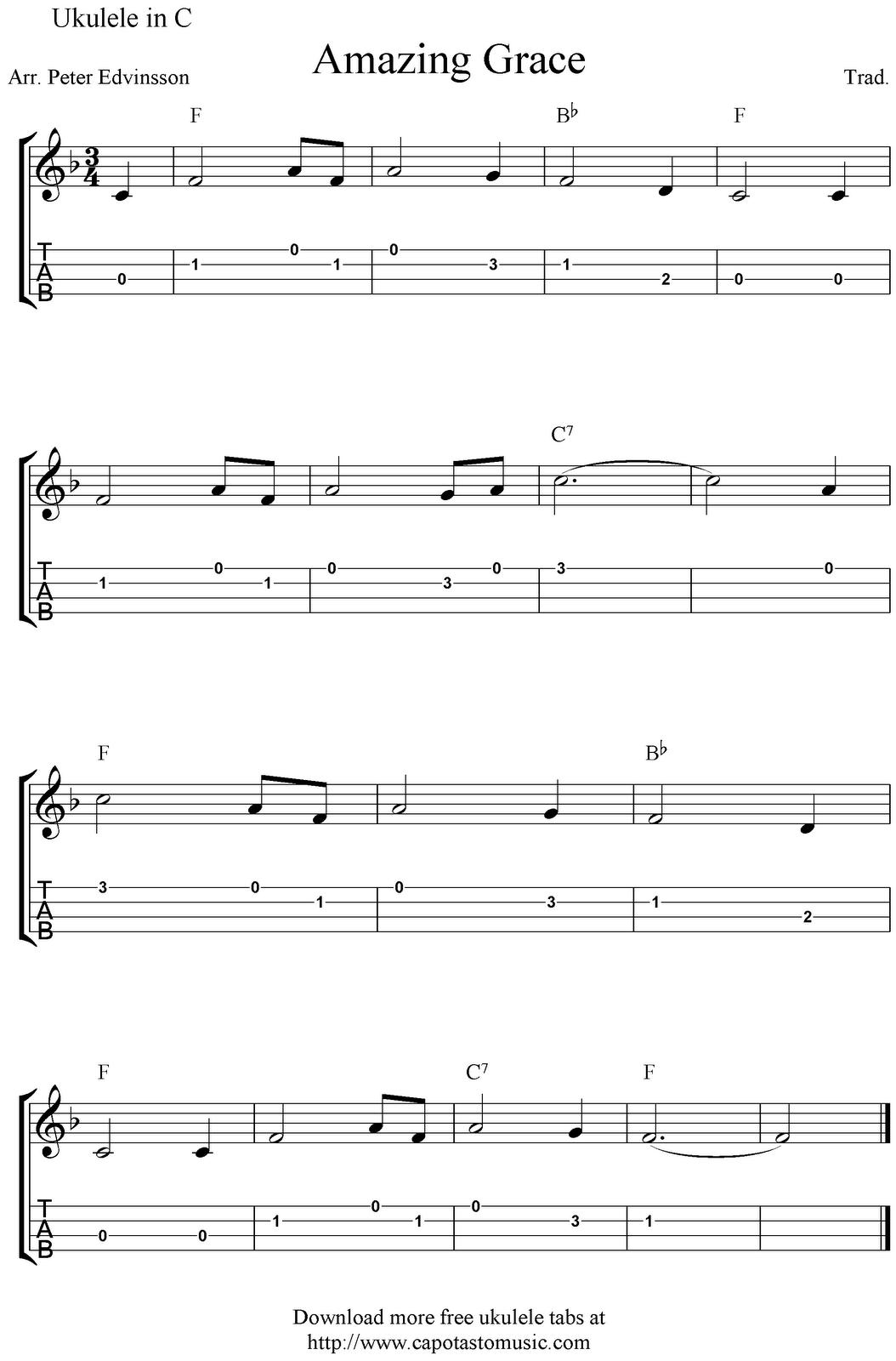 Amazing Grace Ukulele Sheet Music