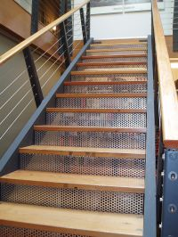McNICHOLS Perforated Metal forms risers of a staircase ...