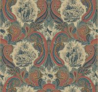 Blue Rust Paisley Wallpaper with Indian Tigers Monkeys ...