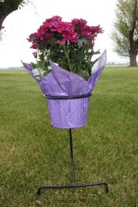 Rod Iron Flower pot holder. Keeps plant in place at the