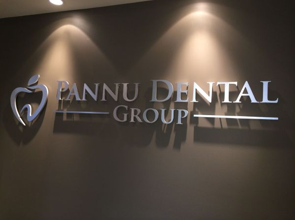 Brushed Metal Finish Dentist Office Wall Sign Mounted With