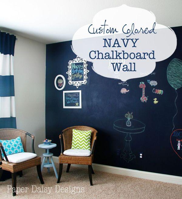 Navy Blue Chalkboard Paint Wall