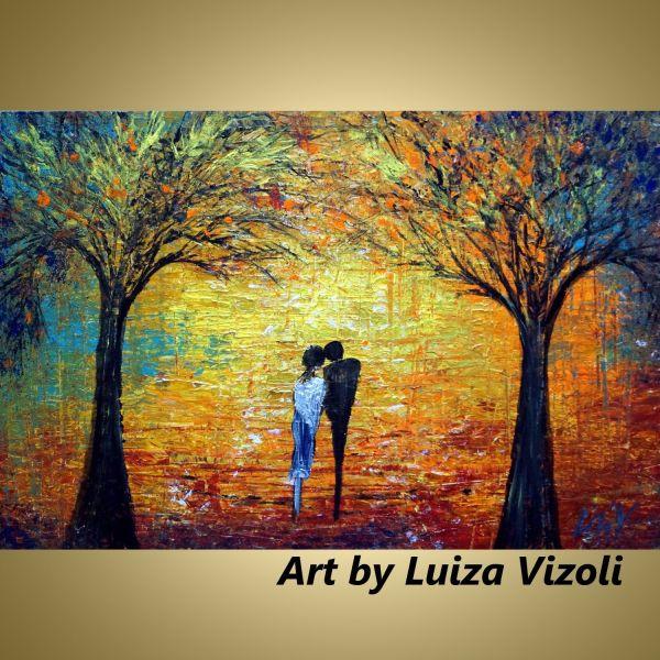 Morning Walk Fall Season-modern Original Romantic Painting Love Canvas