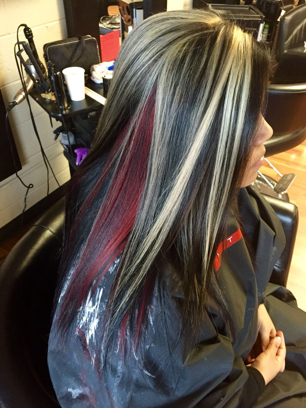 Chunky Blonde Highlights With All Over Black And A Red
