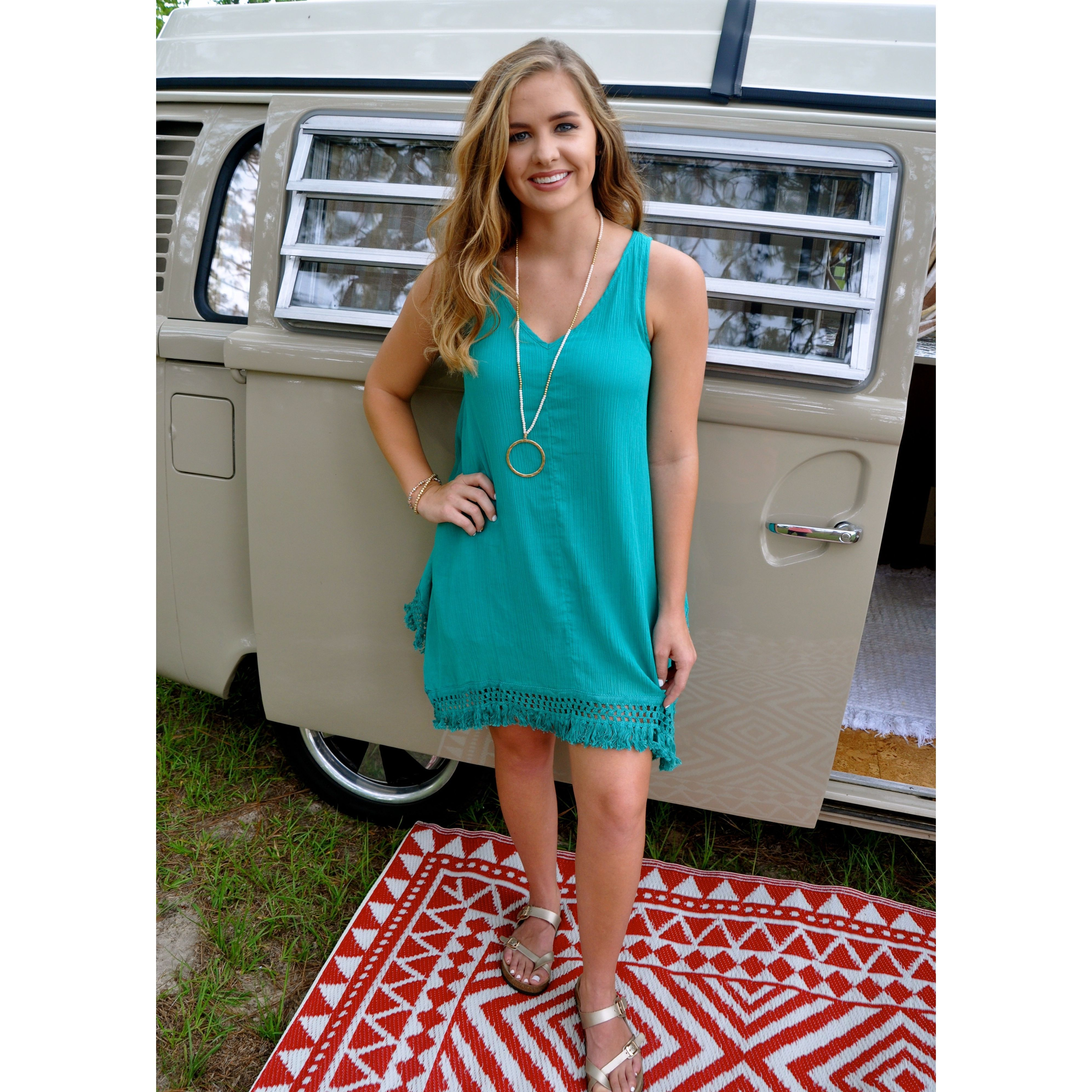 Fringe Accent Dress in Green Products Pinterest