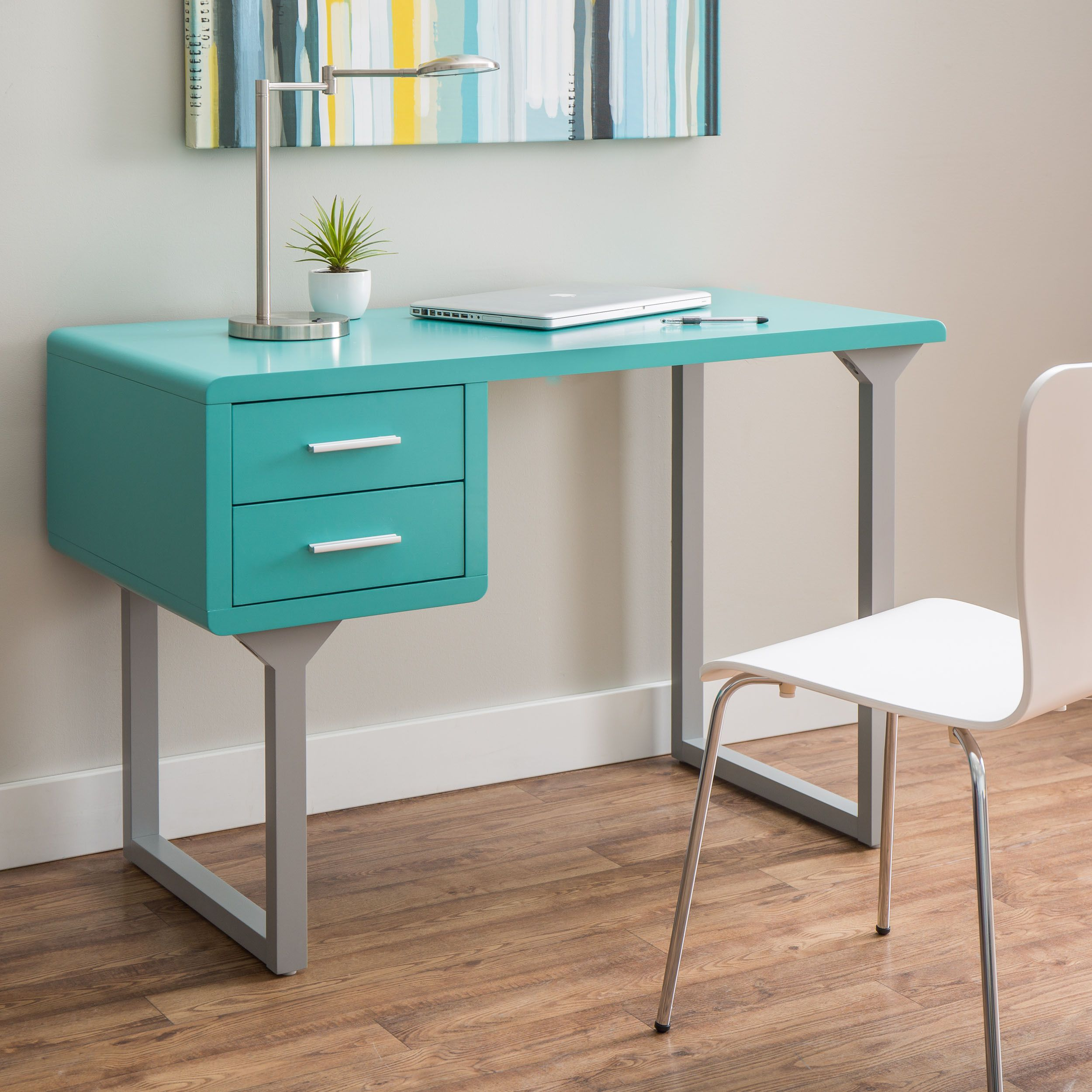 Retro Turquoise and Grey Writing Desk by I Love Living