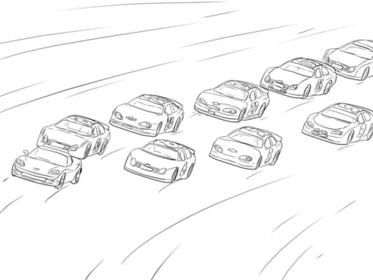 A Lot Of NASCAR Cars Racing On The Hot Track Coloring Page