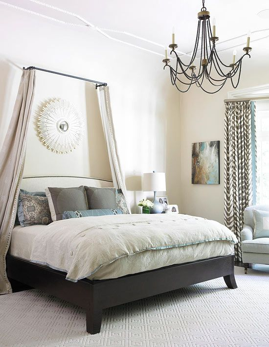 Cute idea to use  curtain rod above your bed  like how it   canopy but would be easy wash not overpowering in small interior design also bright classic master house pinterest natural light rh