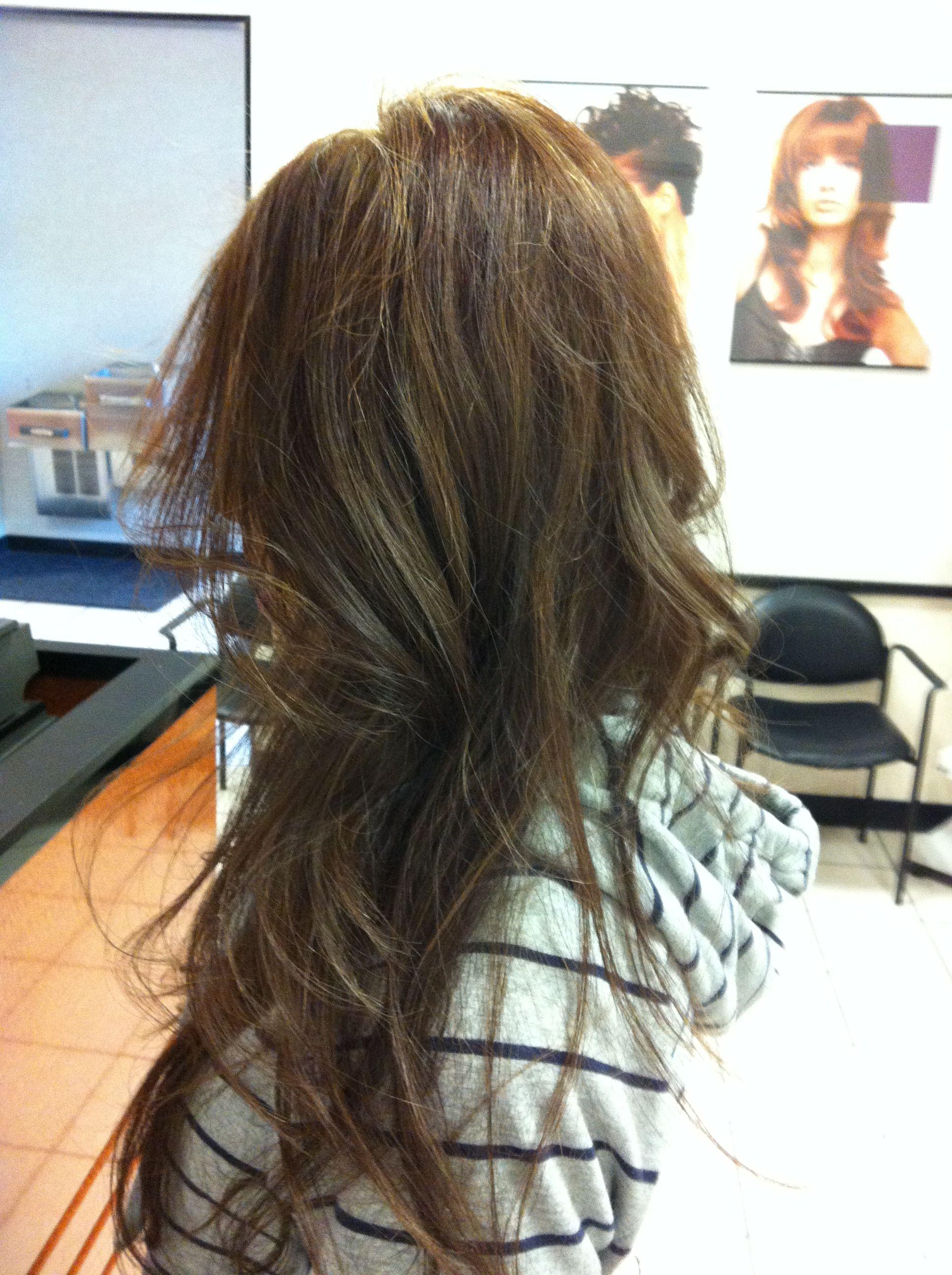 Partial highlights and cut medium ash Hair by Kistina